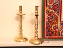 Moroccan Vintage Brass Candle Holders Pair in Solid Brass Handmade Hand Engraved